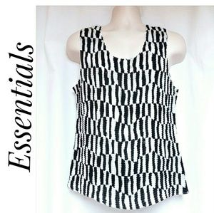 Essentials by Milano Crinkle Tank Top Black White